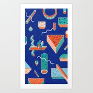 Block Dream Night Art Print