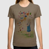 Maggie's Butterflies Womens Fitted Tee Tri-Coffee SMALL