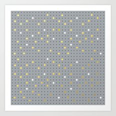 Pin Points Grey, Gold and White Art Print