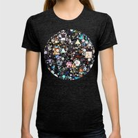 Colorful Layers of Geometric Shapes Womens Fitted Tee Tri-Black SMALL