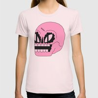 Cosmic Skull Womens Fitted Tee Light Pink SMALL