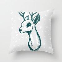 sketchy deer Throw Pillow