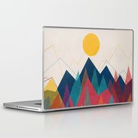 mountains Laptop & iPad Skins featuring Uphill Battle by Picomodi