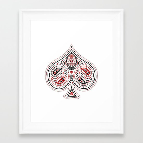 83 Drops - Spades (Red & Black) Framed Art Print