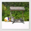 Vacation Time - Beach Bum Kitty Canvas Print