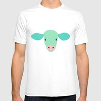Cow-mor Turquoise Mens Fitted Tee White SMALL
