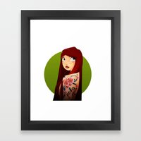 the girl with the flower tattoo Framed Art Print