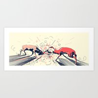 Deer Fight Art Print
