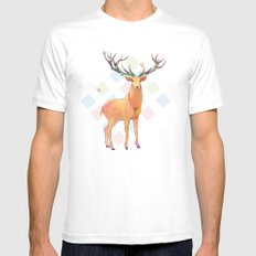Deer and Diamonds White Mens Fitted Tee SMALL