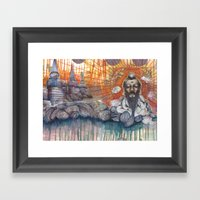 A Turtle On Vacation Framed Art Print