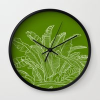 Palm Beach - Green And W… Wall Clock