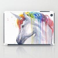 Rainbow Unicorn Watercolor iPad Case