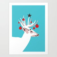 Deer with Cheer Art Print