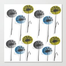 Dandelion In Yellow, Blue And Grey Canvas Print