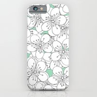 iPhone & iPod Case featuring Cherry Blossom With Mint Blocks - In Memory of Mackenzie by Project M