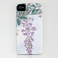 iPhone 4s & iPhone 4 Cases featuring Wisteria Flowers, Petals, Leaves - Purple Green by sitnica