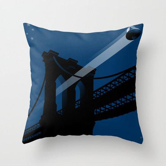 A UFO flies in Brooklyn Throw Pillow