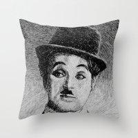 Chaplin portrait - Fingerprint Throw Pillow