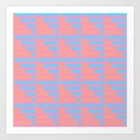 Pink Blue Peach Houndstooth /// www.pencilmeinstationery.com Art Print