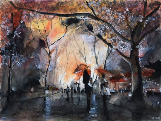 Autumn rain - watercolor Art Print