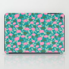 Turquoise blossom blooms painting abstract pattern garden gardener plants summer spring bright  iPad Case