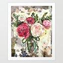Pink Flowers in mason jar Art Print