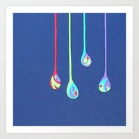 Jewel Drops Papercut Art Print