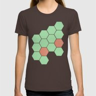 Mint Honeycomb Womens Fitted Tee Brown LARGE