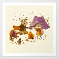 Art Print featuring Critters: Fall Camping by Teagan White