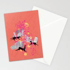 weird city sunset Stationery Cards