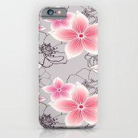 Pink Floral On Grey iPhone 6 Slim Case