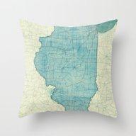 Illinois Map Blue Vintag… Throw Pillow