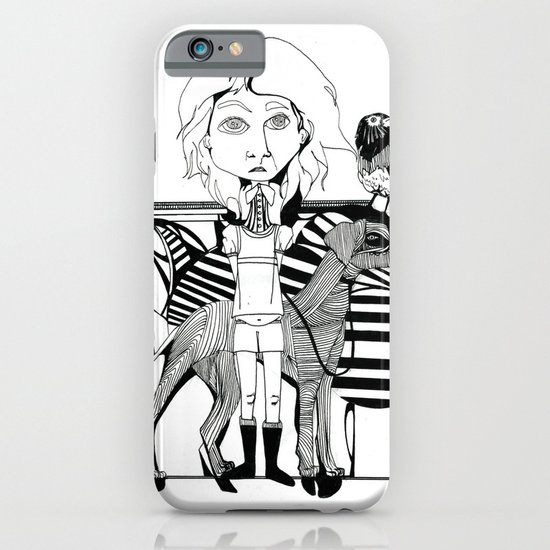the girl, her dog and a bird iPhone & iPod Case