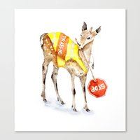 Traffic Controller Deer in High Visibility Vest Canvas Print