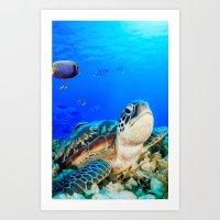 UNDER THE SEA - TURTLE Art Print