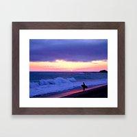 Sunset Skimboarder Framed Art Print