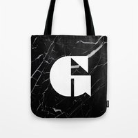 Black Marble - Alphabet G Tote Bag