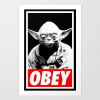 Obey Yoda - Star Wars Art Print
