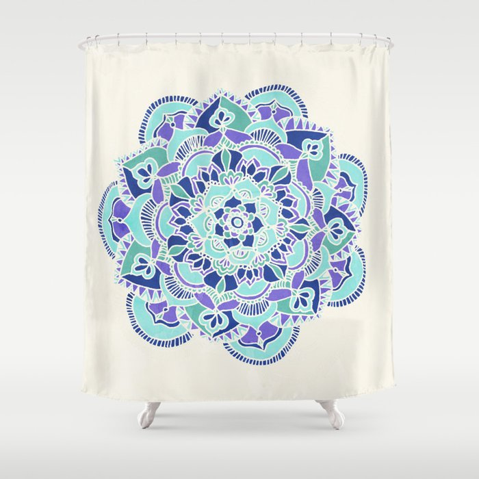 royal blue teal mint purple mandala flower shower curtain by