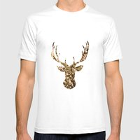 Deer Flowers Mens Fitted Tee White SMALL