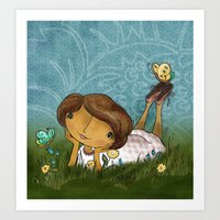Joan In the Grass Art Print