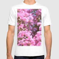 Memories of Pink Blossoms SMALL Mens Fitted Tee White