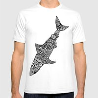 Doodle Shark Mens Fitted Tee White SMALL