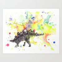 Stegosaurus Dinosaur in Splash of Color Art Print
