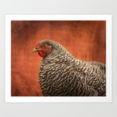 Red Chicken Art Print