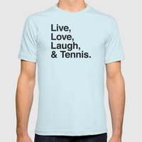 Live Love Laugh and Tennis Mens Fitted Tee Light Blue SMALL