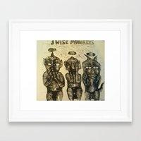 3 Wise Monkeys  Framed Art Print