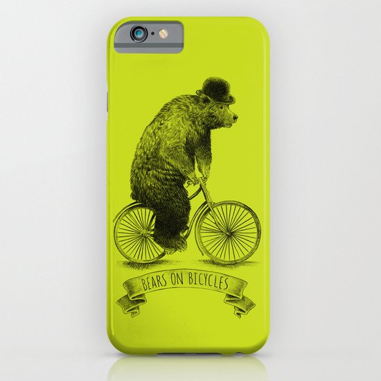 Bears on Bicycles (Lime) iPhone & iPod Case