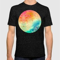 Watercolor Wonderland Mens Fitted Tee Tri-Black SMALL