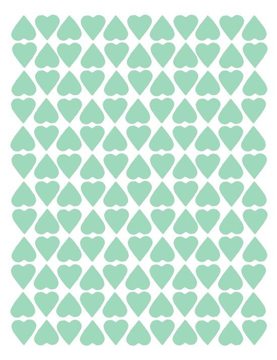 Diamond Hearts Repeat Mint Canvas Print